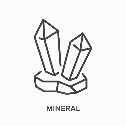 Crystal flat line icon. Vector outline illustration of stone . Black thin linear pictogram for mineral material
