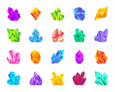 Crystal gemstone mineral flat cartoon icon set