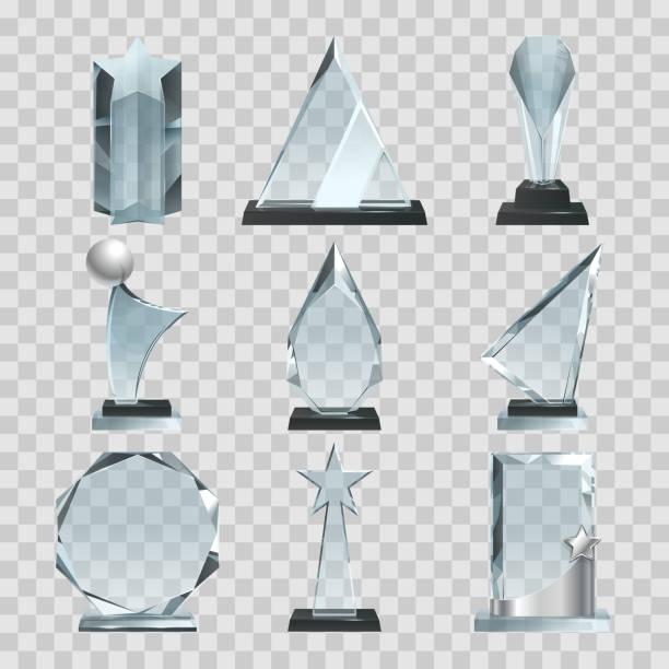 Crystal glass trophy or awards on transparent background Crystal glass trophy or awards on transparent background. Glass crystal award, blank trophy transparent. Vector illustration crystals stock illustrations