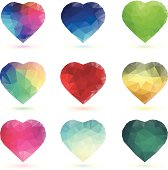 Crystal hearts with different colours. All design elements are layered and grouped.