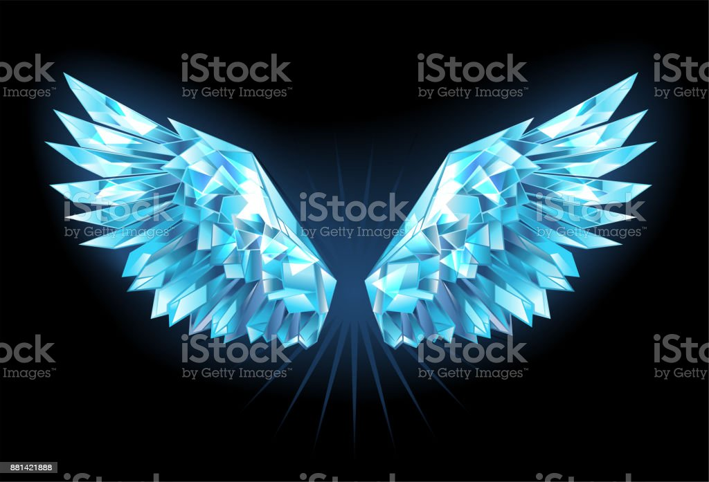 Crystal ice wings vector art illustration