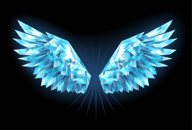 Crystal ice wings Polygonal, sparkling wings of blue, clear ice on a blue background. Ice wings. aircraft wing stock illustrations