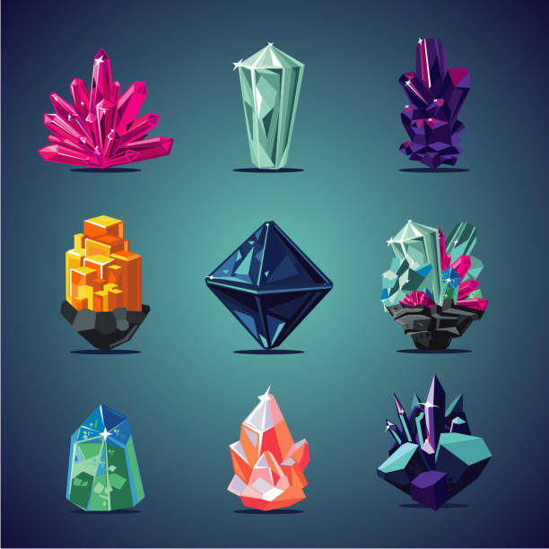 crystal isolated icons set. magic stones collection. - gemstone stock illustrations, clip art, cartoons, & icons