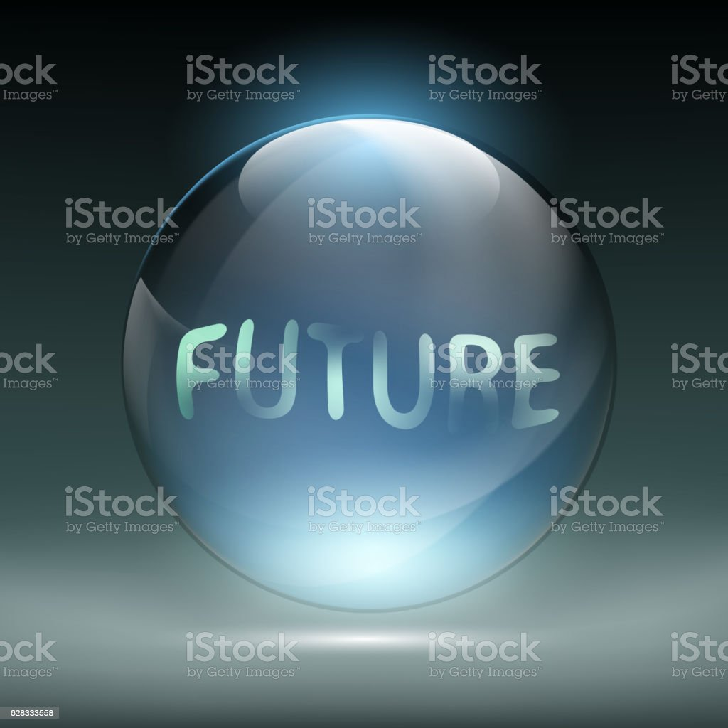 Crystal magic ball for divination. Foretelling the future. vector art illustration