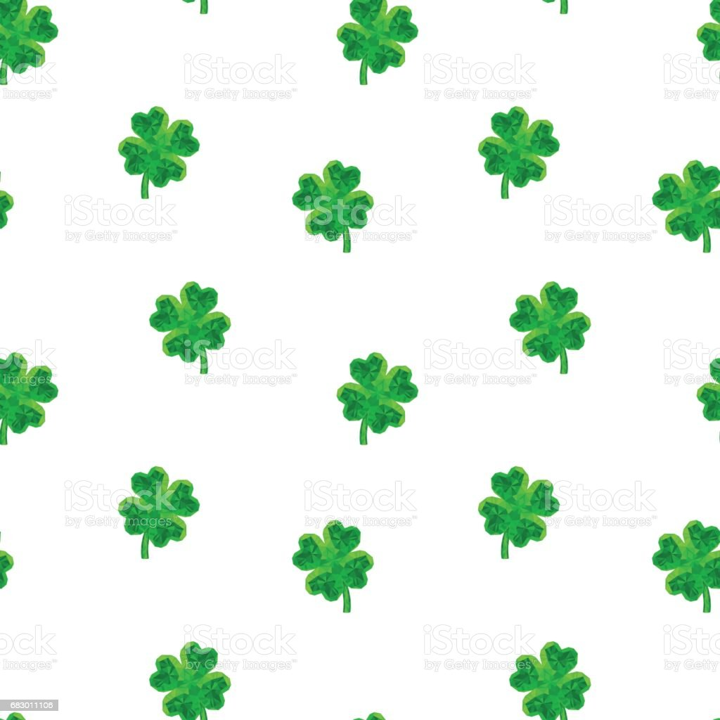 Crystal polygonal four-leaf lucky clover seamless pattern royalty-free crystal polygonal fourleaf lucky clover seamless pattern stock vector art & more images of art