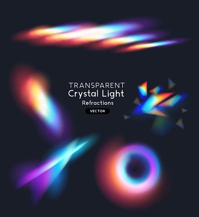 A set of crystal rainbow light streak refraction effects. transparent vector illustration.