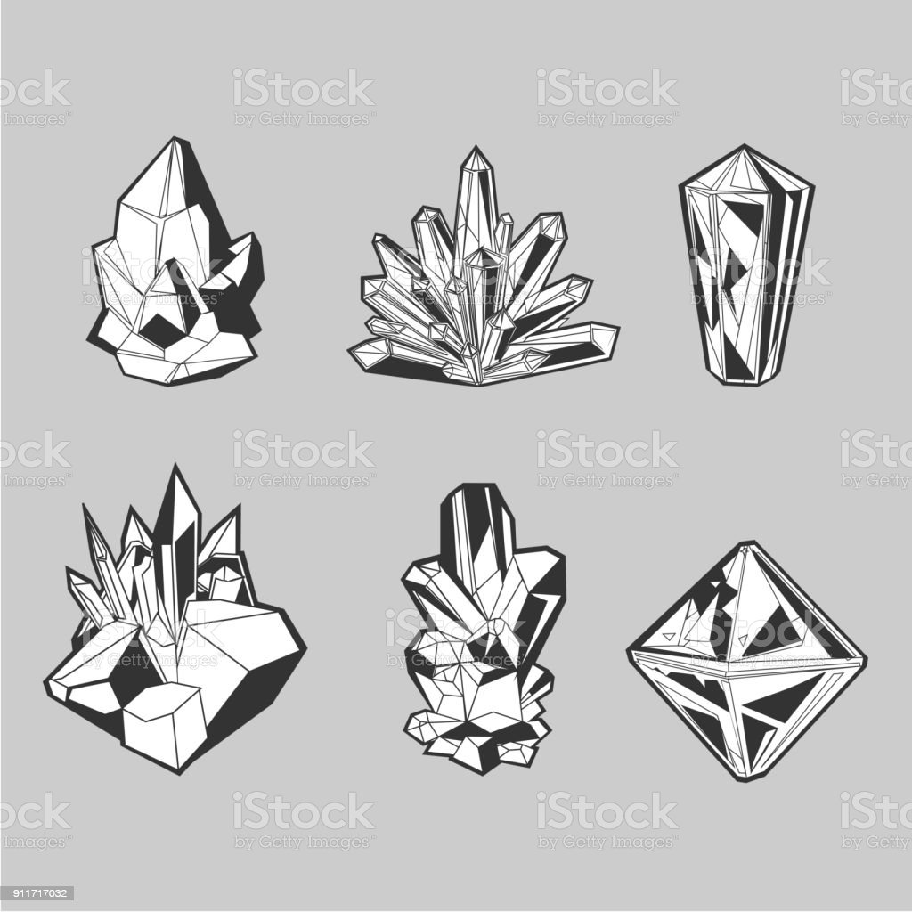 Crystal set. Isolated icons collection. Grayscale line art