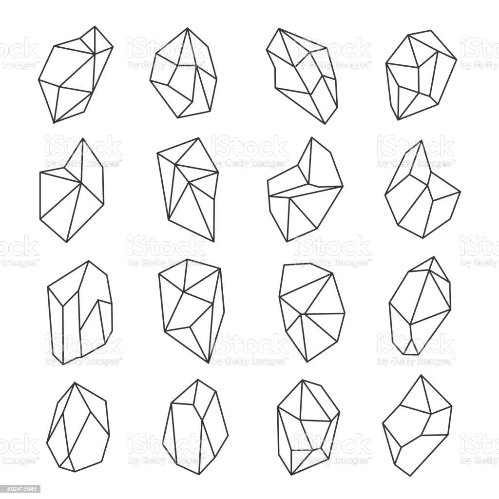 Crystal shapes outline set