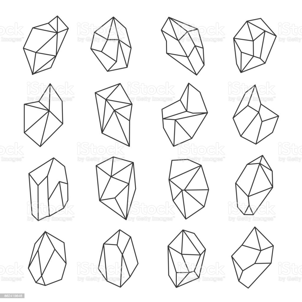 Crystal shapes outline set vector art illustration