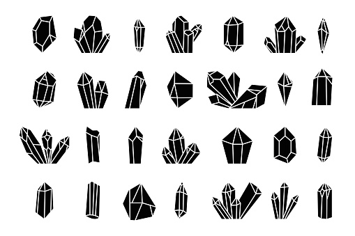 Crystal silhouette icons on a white background.