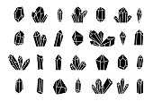 Crystal silhouette icons on a white background. Vector set of hand drawn crystals.