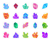Crystal silhouette icons set. Isolated sign kit of gem. Mineral pictogram collection includes amethyst, ruby, sapphire, topaz, emerald, diamond, quartz. Simple contour symbol Crystal vector icon shape