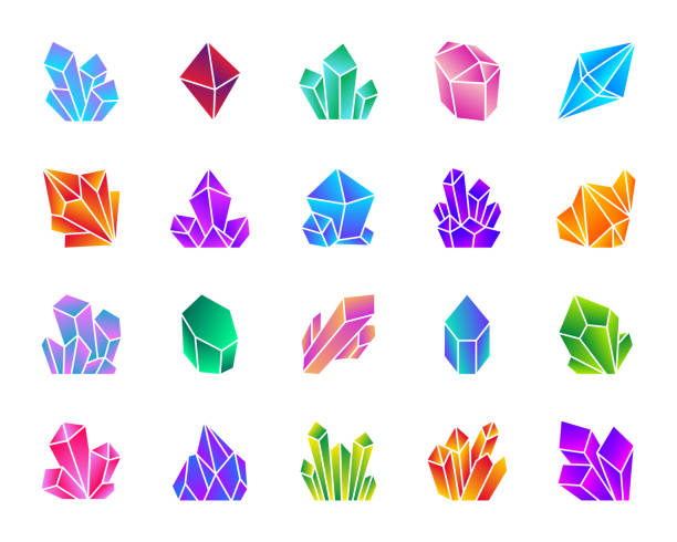 Crystal simple gradient icons vector set Crystal silhouette icons set. Isolated sign kit of gem. Mineral pictogram collection includes amethyst, ruby, sapphire, topaz, emerald, diamond, quartz. Simple contour symbol Crystal vector icon shape crystals stock illustrations