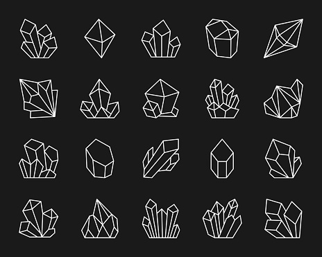 Crystal simple white line icons vector set