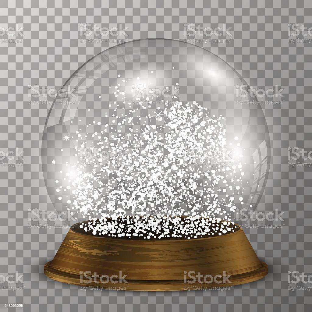 Crystal snow globe on wood stand. Transparent vector snowglobe. - ilustração de arte em vetor