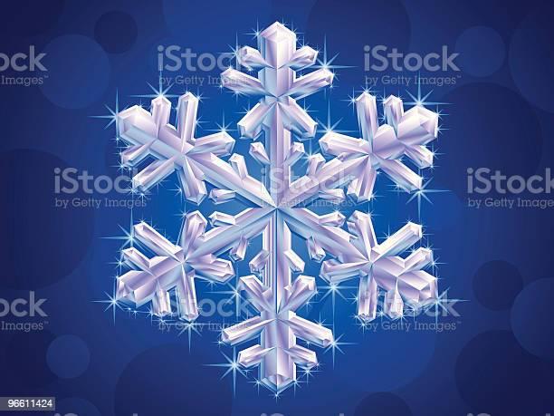 Crystal Snowflake-vektorgrafik och fler bilder på Blå