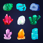 Magic crystals and semiprecious stones vector set. Mineral stony crystallization.