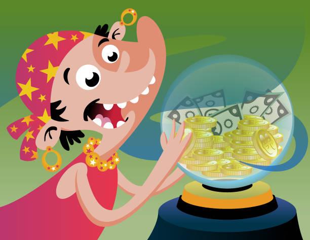 crystal_ball_cash vector art illustration