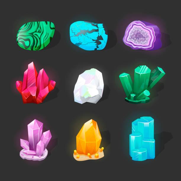 kristallinen stein oder edelstein. edelstein. magische kristalle und halbedelsteine vektor-set. unbehandelte diamant, malachit, türkis, quarz. spielsymbole leuchtende kristalle. - mineral stock-grafiken, -clipart, -cartoons und -symbole