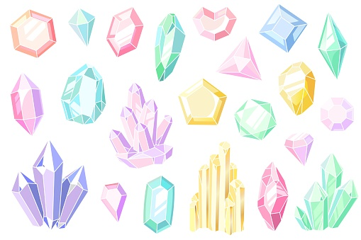 Crystals and gems. Pink and purple gemstones, beautiful jewels, mineral stone pastel crystal stalagmites, geology elements cartoon colorful vector set