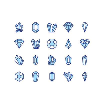 Crystals flat line icons set. Geometric gems diamonds. Simple flat vector illustration for geology, jewelry store, web site or mobile app