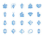 Crystals flat line icons set. Mineral rock, diamond shape, salt, abstract gemstone, magic crystal vector illustrations. Thin signs for geology or jewelry store. Pixel perfect 64x64. Editable Strokes.
