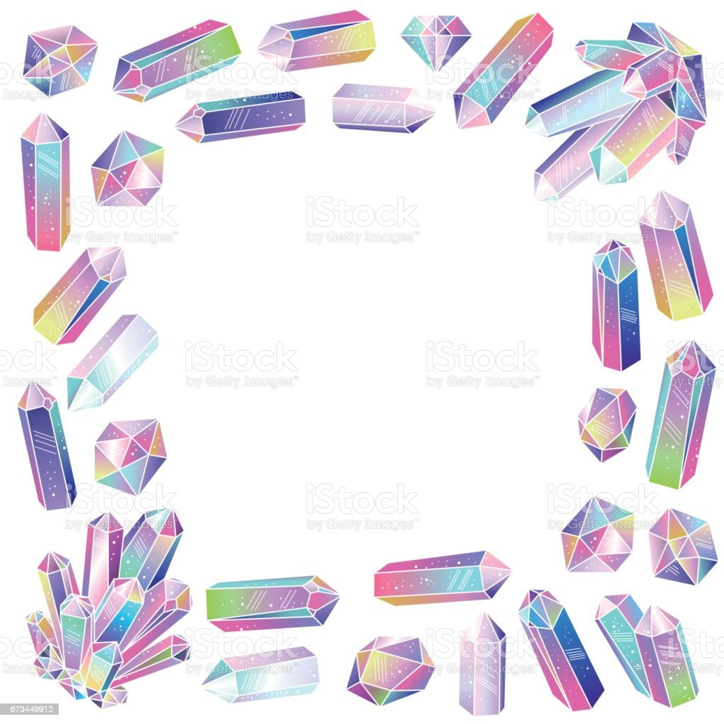 Crystals frame isolated vector