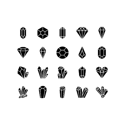 Crystals line icons set. Geometric gems diamonds vector illustrations collection. For geology or jewelry store
