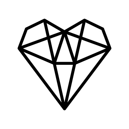 Crystals line vector icon. Geometric gems diamonds vector illustrations collection. For geology or jewelry store