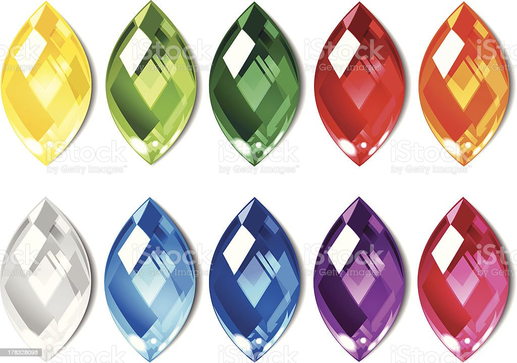 Crystals set of 10 colors. royalty-free stock vector art