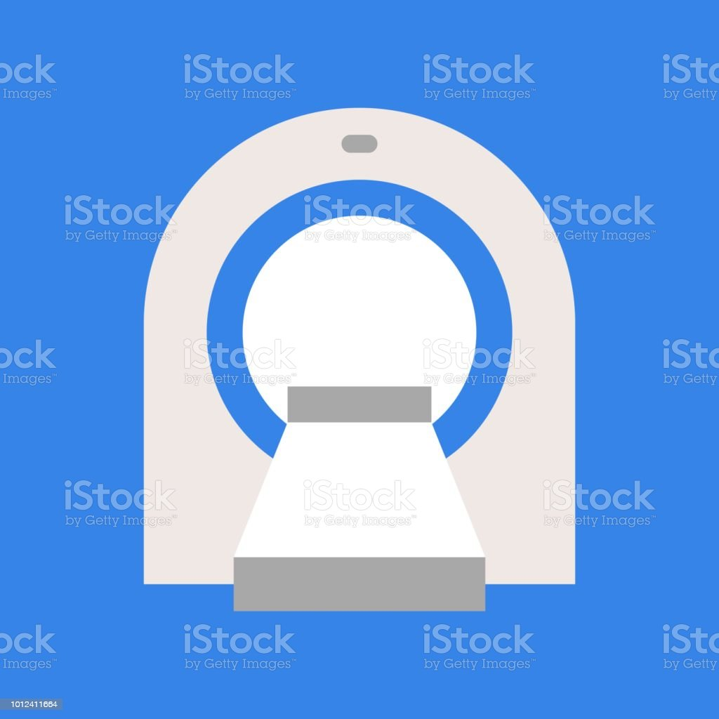 Ct scan, medical and hospital related flat design icon set vector art illustration