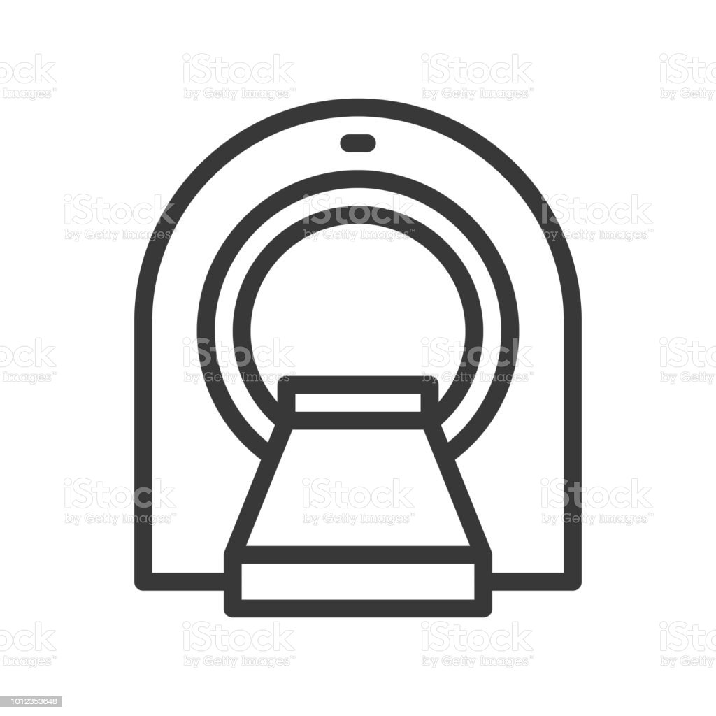 ct scanner, hospital related simple outline icon vector art illustration