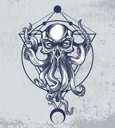 Cthulhu with sacred geometry poster.