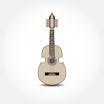 Cuatro, latin american guitar, vector illustration