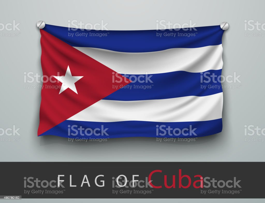 FLAG OF cuba battered, hung on the wall vector art illustration