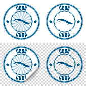 Map of Cuba on a blue sticker and a blue rubber stamp. They are composed of the map in the middle with the names around, separated by stars. The stamp at the top right is created in a vintage style, a grunge texture is added to create a vintage and realistic effect. Vector Illustration (EPS10, well layered and grouped). Easy to edit, manipulate, resize or colorize. Please do not hesitate to contact me if you have any questions, or need to customise the illustration. http://www.istockphoto.com/portfolio/bgblue