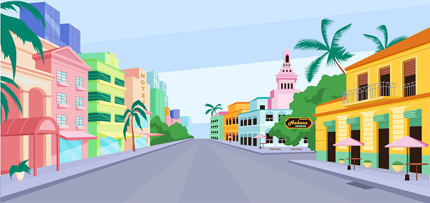 Cuba city life flat color vector illustration. Havana traditional colorful buildings. Summer vacations in America .Cuban attractions 2D cartoon cityscape with sky scape on background