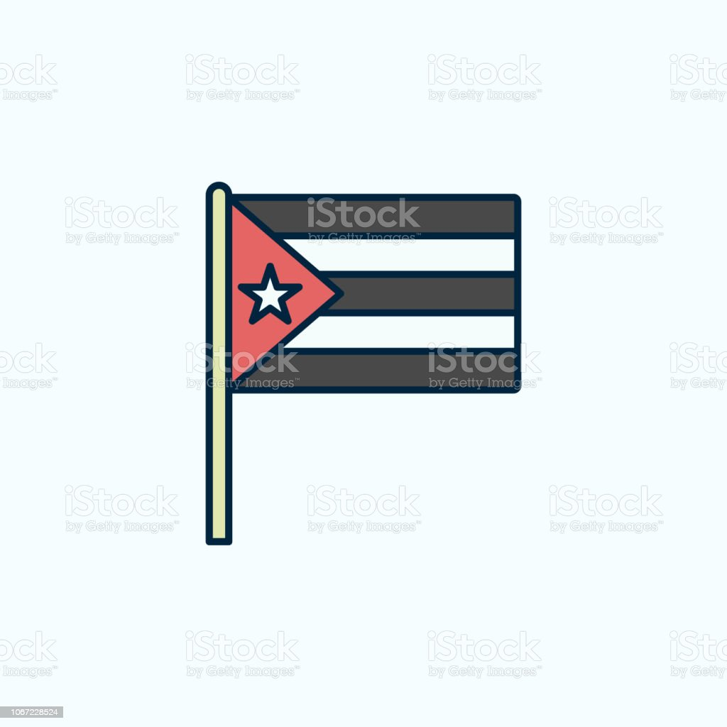 Cuba Flag 2 Colored Line Icon Simple Colored Element Illustration