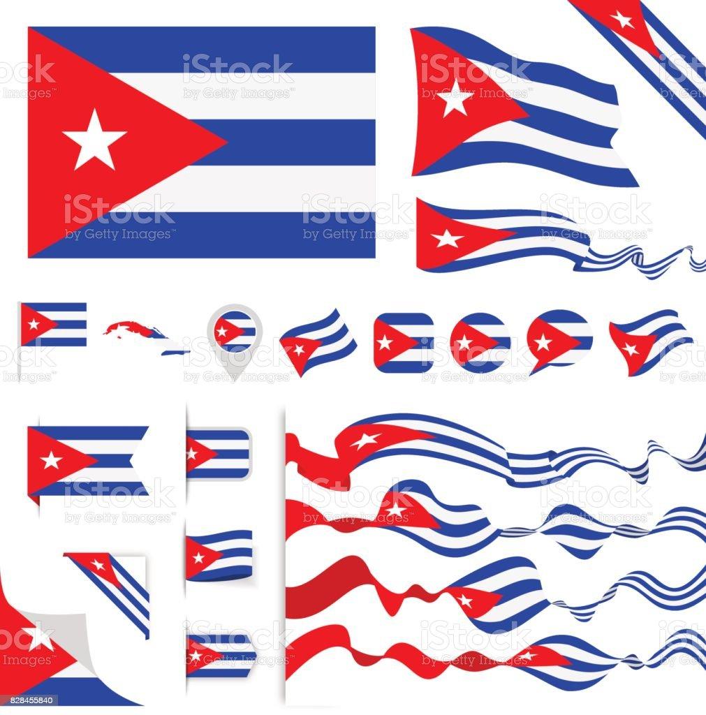 Juego de la bandera de Cuba - ilustración de arte vectorial