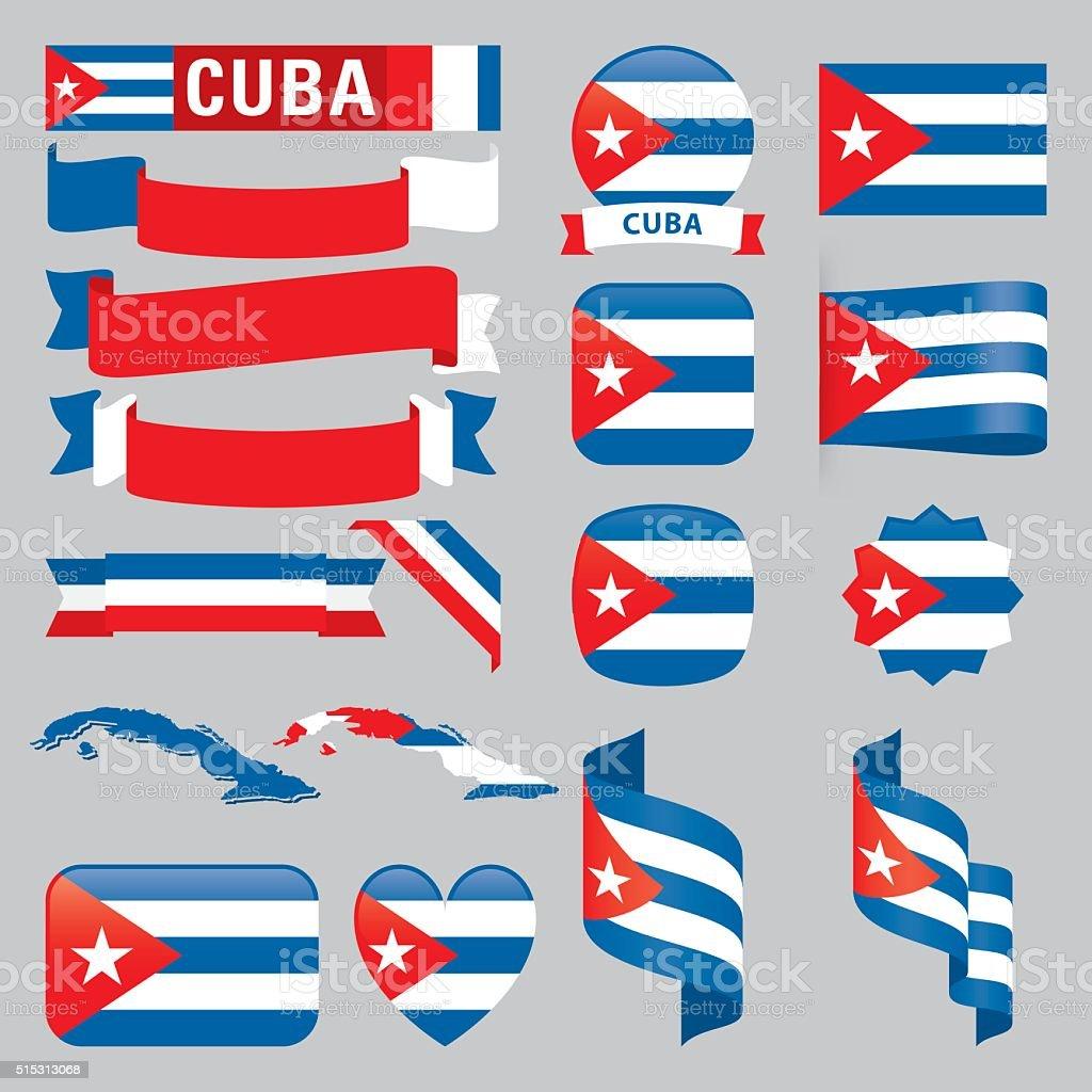 Cuba Banderas - ilustración de arte vectorial