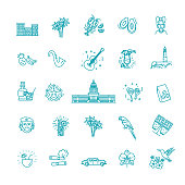 Vector icons collection of Cuban culture and food, including maracas, guitar, retro car, papaya, the dish with lobster