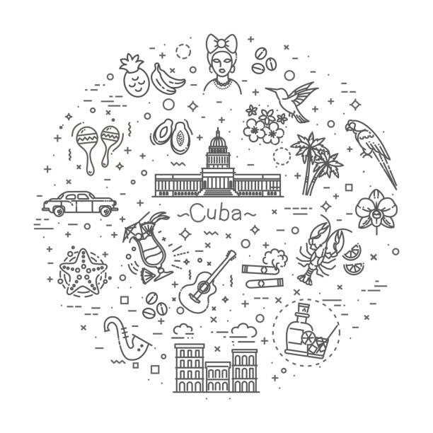 Kuba-Icon-set – Vektorgrafik