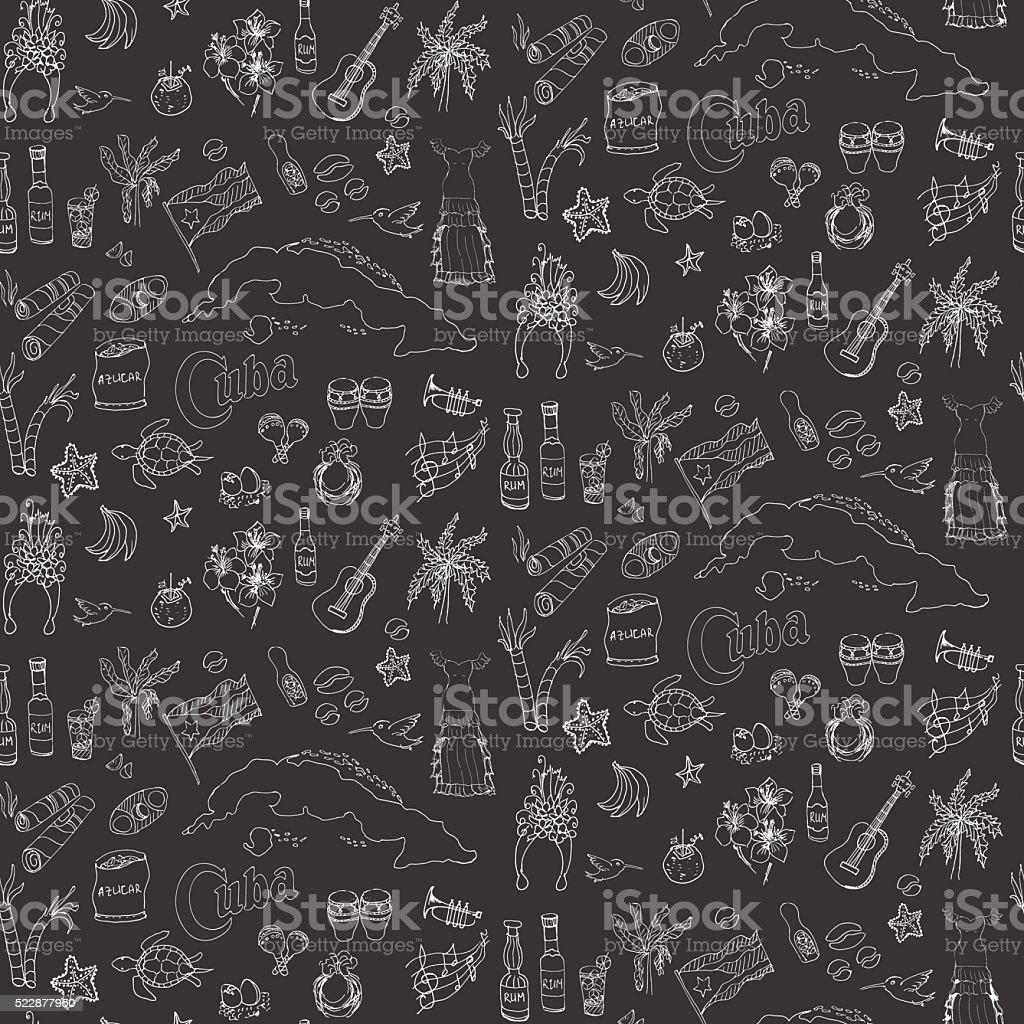 Cuba icons vector art illustration
