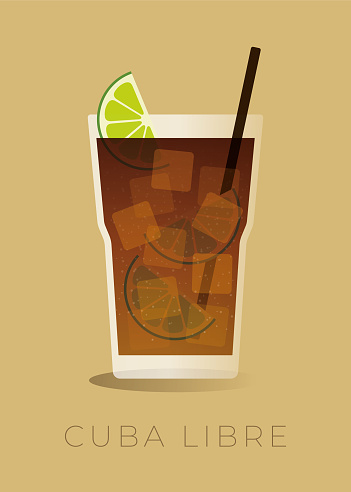 Cuba Libre Cocktail Isolated on beige background. stock illustration
