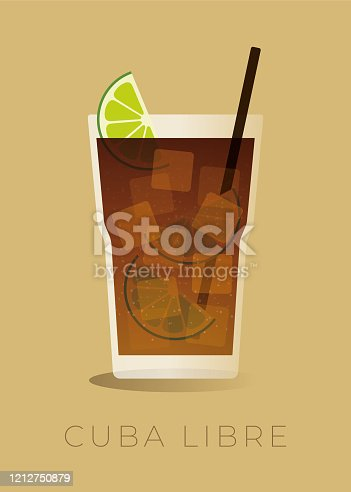 istock Cuba Libre Cocktail Isolated on beige background. stock illustration 1212750879