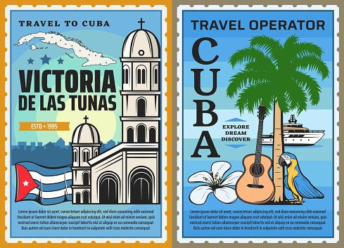 Cuba map, flag, Caribbean beach palm. Cuban travel