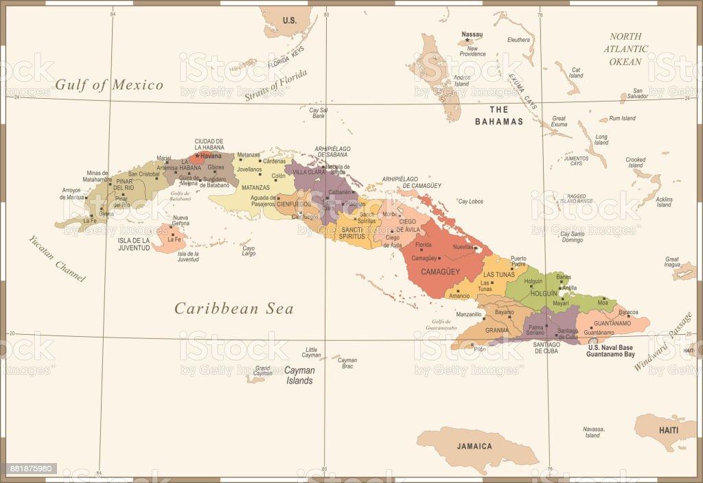 Havanna Kuba Karte.Kuba Karte Vintage Detaillierte Vektorillustration Stock Vektor Art
