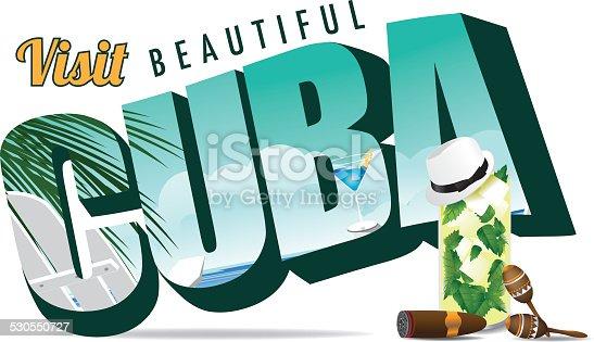 Cuba retro postcard typography