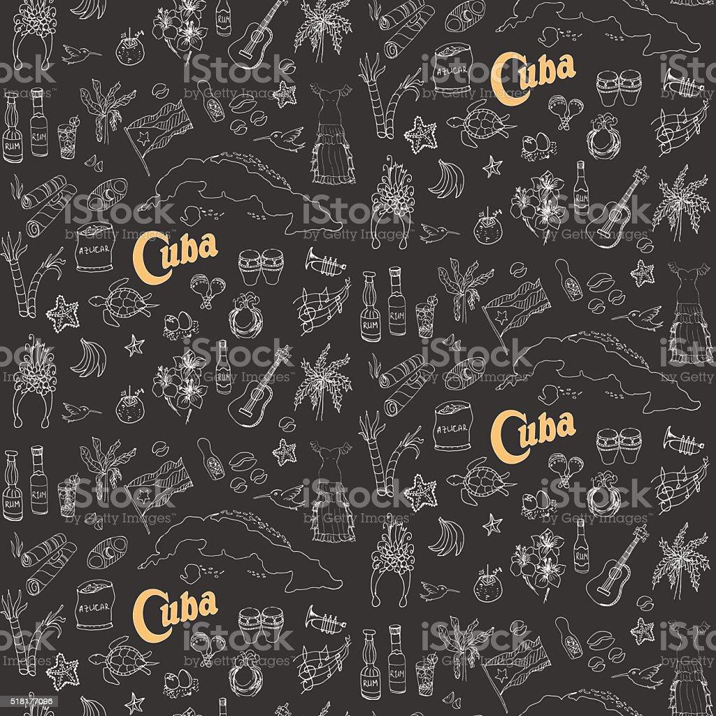 Cuba set vector art illustration