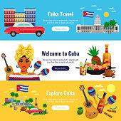 Cuba travel horizontal banners set with  landmarks symbols flat isolated vector illustration